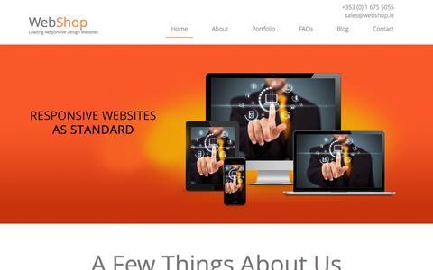 Screenshot of Home Page webshop.ie - Webshop Responsive Web Design Mobile Responsive Website - captured Oct. 7, 2014