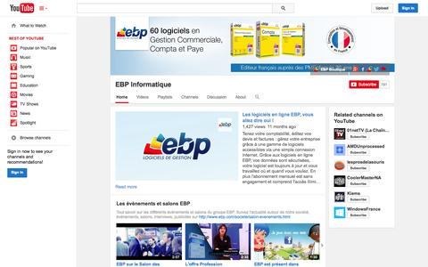 Screenshot of YouTube Page youtube.com - EBP Informatique  - YouTube - captured Oct. 22, 2014