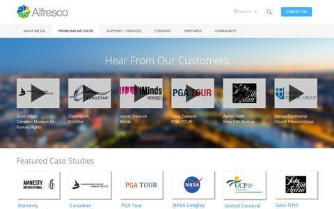 Screenshot of Case Studies Page alfresco.com - Alfresco Customers and Case Studies | Alfresco - captured July 19, 2014