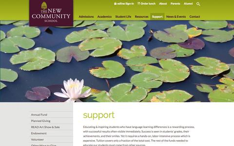 Screenshot of Support Page tncs.org - Support - The New Community School - captured Nov. 5, 2014