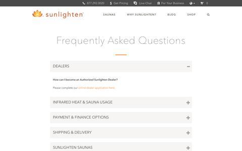 Screenshot of FAQ Page sunlighten.com - Frequently Asked Questions - Sunlighten - captured Oct. 30, 2017