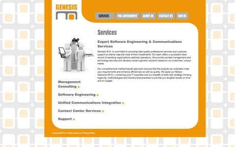 Screenshot of Services Page genesismo.com - Genesis M.O. | Services for Technology, Communications & Contact Center - captured Sept. 29, 2014