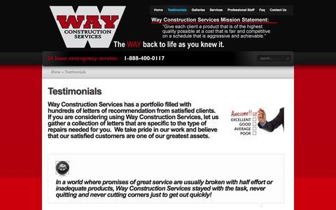 Screenshot of Testimonials Page wayconstruction.com - Testimonials | Way Construction - captured Oct. 7, 2014