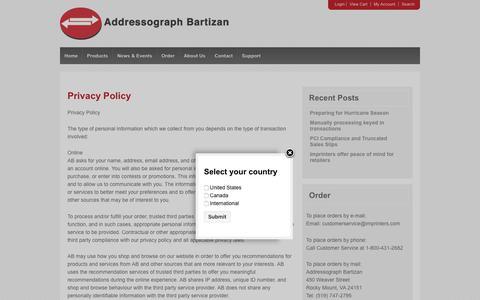Screenshot of Privacy Page imprinters.com - Addressograph Bartizan, credit card, imprinters, company, contact, privacy   Imprinters - captured Dec. 18, 2018