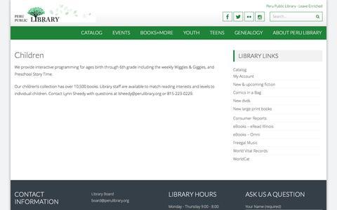 Screenshot of FAQ Page perulibrary.org - Children – Peru Public Library - captured April 28, 2017