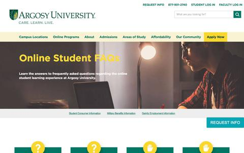 Screenshot of FAQ Page argosy.edu - Online Student FAQs | Argosy University - captured July 6, 2017