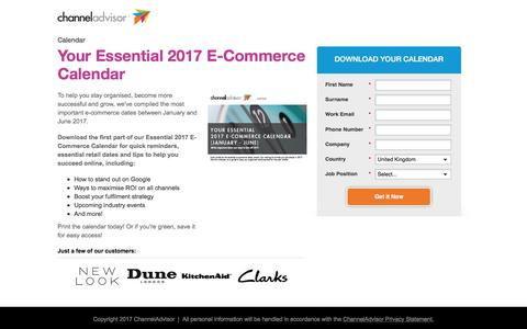 Screenshot of Landing Page channeladvisor.com - Your Essential 2017 E-Commerce Calendar - captured April 8, 2018