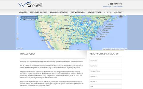 Screenshot of Privacy Page workwell.com - WorkWell -  WorkWell - captured Sept. 17, 2014