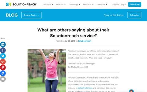Screenshot of Testimonials Page solutionreach.com - What are others saying about their Solutionreach service? - captured Jan. 11, 2019