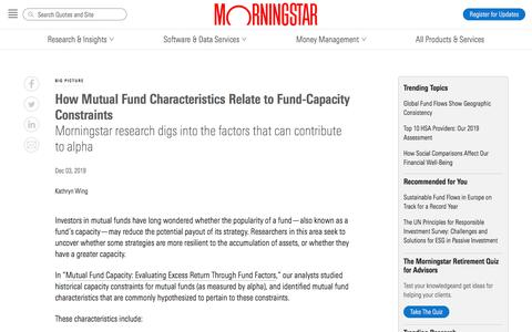 Screenshot of Blog morningstar.com - How Mutual Fund Characteristics Relate to Fund-Capacity Constraints - Morningstar Blog - captured Dec. 4, 2019
