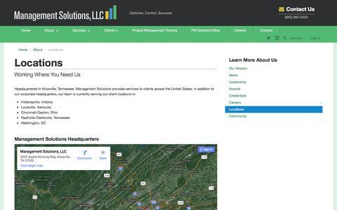 Screenshot of Locations Page managementsolutionsllc.com - Locations - captured Dec. 21, 2015
