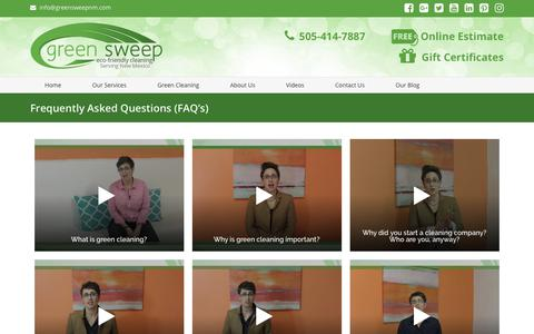 Screenshot of FAQ Page greensweepnm.com - Frequently Asked Questions (FAQ's) - captured Dec. 16, 2018