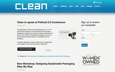 Screenshot of Blog cleanagency.com - Clean Agency Sustainability Consulting Los Angeles: Blog - captured Sept. 29, 2014