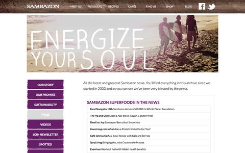 Screenshot of Press Page sambazon.com - Press | SAMBAZON | Amazon Superfoods - captured Sept. 17, 2014