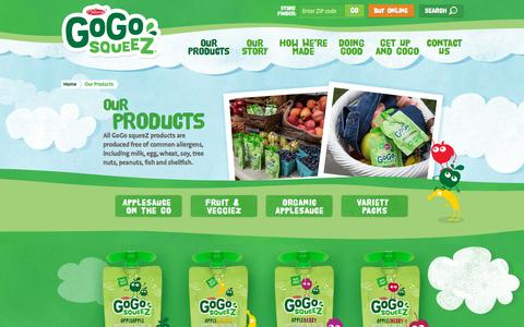 Screenshot of Products Page gogosqueez.com - Our Products - GoGo squeeZ - Healthy Snacks for Kids - captured Oct. 2, 2015