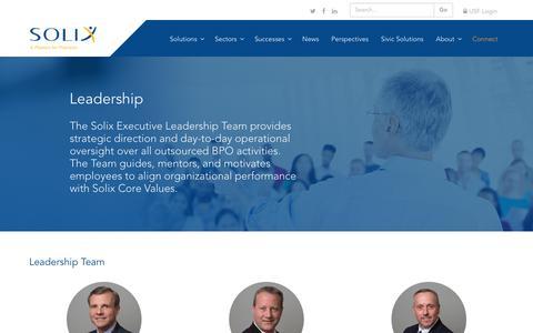 Screenshot of Team Page solixinc.com - Solix - Executive Leadership Team - captured Sept. 21, 2018