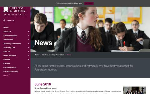 Screenshot of Press Page chelsea-academy.org - Chelsea Academy |   News - captured July 12, 2016