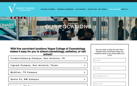 Screenshot of Locations Page vogue.edu - Convinient Locations Vogue College of Cosmetology - captured Oct. 19, 2018