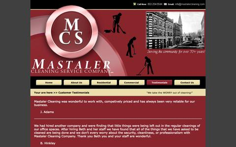 """Screenshot of Testimonials Page mastalercleaning.com - Mastaler Cleaning Company """"We take the WORRY out of cleaning!"""" - captured Oct. 27, 2014"""