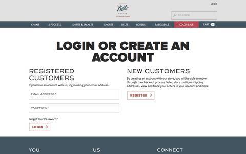 Screenshot of Login Page billskhakis.com - Customer Login - captured July 20, 2019