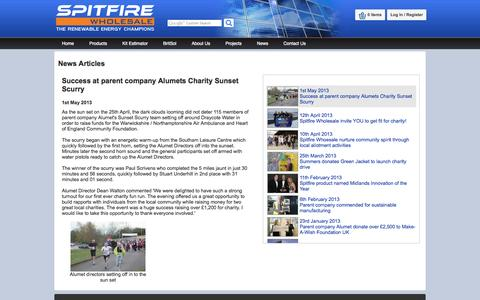 Screenshot of Press Page spitfirewholesale.co.uk - Success at parent company Alumets Charity Sunset Scurry | 1st May 2013 - captured Oct. 9, 2014