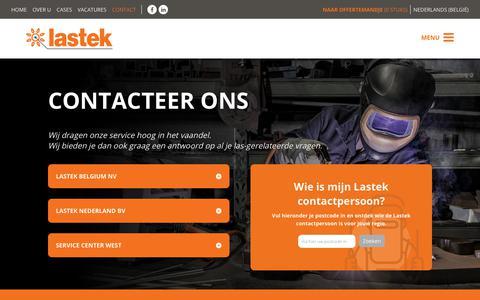 Screenshot of Contact Page lastek.be - Contact - Lastek : Lastek - captured Sept. 27, 2018