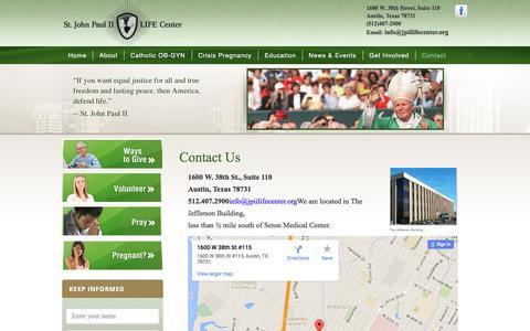 Screenshot of Contact Page jpiilifecenter.org - Contact Us - captured April 24, 2016
