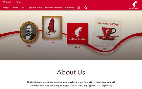 Screenshot of About Page meinlcoffee.com - About Us - Julius Meinl - captured Nov. 18, 2016