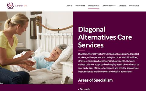 Screenshot of Services Page diagonalalternatives.com - Our Services – Diagonal Alternatives LLP - captured July 6, 2017