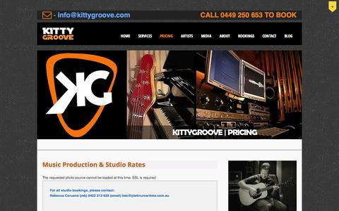 Screenshot of Pricing Page kittygroove.com - Pricing - Kittygroove Productions - captured Sept. 30, 2014