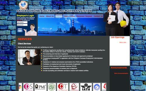 Screenshot of Services Page skilledonline.com - Pacific Mediterrenian International Manpower Agency Inc. - Services - captured Oct. 1, 2014