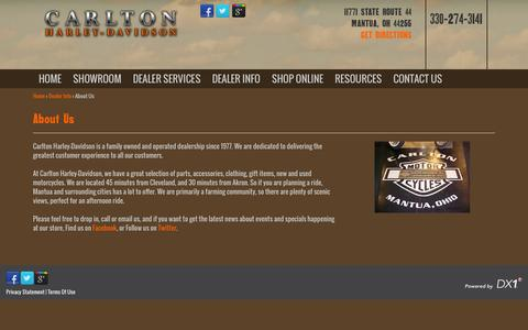 Screenshot of About Page carltonsharley.com - About Us | Carlton H-D | Mantua, | Harley-Davidson Motorcycle Dealer Ohio - captured Jan. 25, 2016