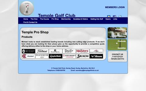 Screenshot of Products Page templegolfclub.co.uk - Temple Pro Shop - Products - captured Oct. 9, 2014