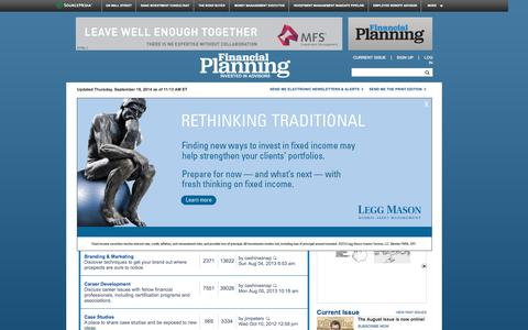 Screenshot of Jobs Page financial-planning.com - Community | {} Discussions | Financial Planning - captured Sept. 19, 2014