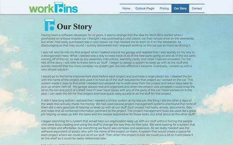 Screenshot of About Page work-bins.com - Work Bins - Story - captured Sept. 20, 2018