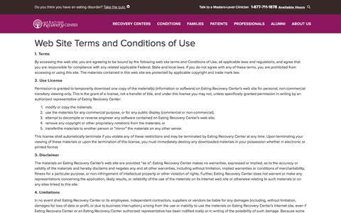 Screenshot of Terms Page eatingrecoverycenter.com - Terms and Conditions | Eating Recovery Center - captured April 30, 2018