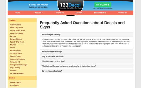 Screenshot of FAQ Page 123decal.com - 123Decal - Frequently Asked Questions - captured Oct. 19, 2018