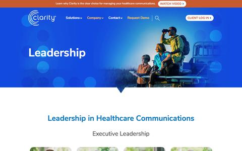 Screenshot of Team Page clarityssi.com - Leadership In Healthcare Communications - captured July 9, 2019