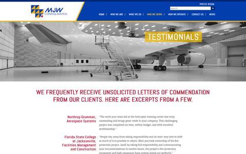 Screenshot of Testimonials Page mjwood.com - MJW Consolidated | Jacksonville, Fl | 904-353-5527 - captured Oct. 27, 2014