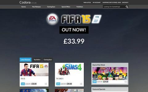 Screenshot of Home Page codora.co.uk - Codora - Game Store UK - captured Sept. 30, 2014