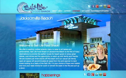 Screenshot of Locations Page saltlifefoodshack.com - Jacksonville Beach   Salt Life Food Shack - captured Sept. 30, 2014