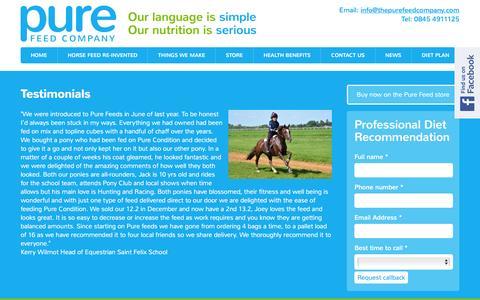 Screenshot of Testimonials Page thepurefeedcompany.com - The Pure Feed Company   Testimonials - captured Feb. 28, 2016