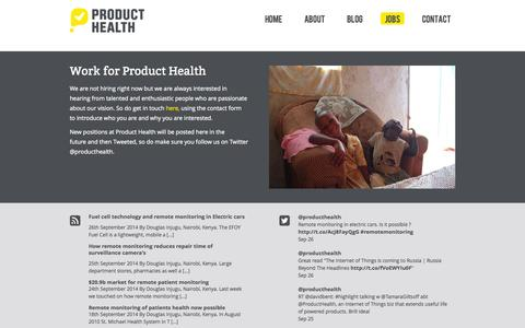 Screenshot of Jobs Page producthealth.com - Work for Product Health | Product Health - captured Sept. 30, 2014