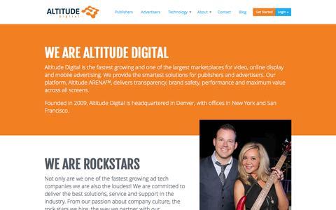 Screenshot of About Page altitudedigital.com - About Altitude Digital Advertising Marketplace   Altitude Digital - captured Sept. 13, 2014