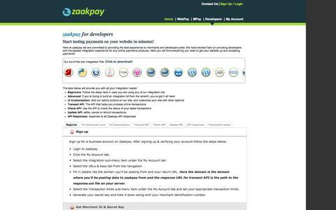 Screenshot of Developers Page zaakpay.com - Zaakpay Developers Section - captured Oct. 27, 2014