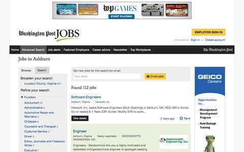 Screenshot of Jobs Page washingtonpost.com - Jobs in Ashburn - captured Feb. 14, 2017