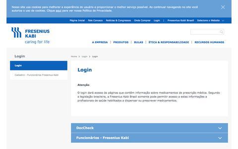 Screenshot of Login Page fresenius-kabi.com - Login - Fresenius Kabi Brasil - captured Feb. 5, 2018