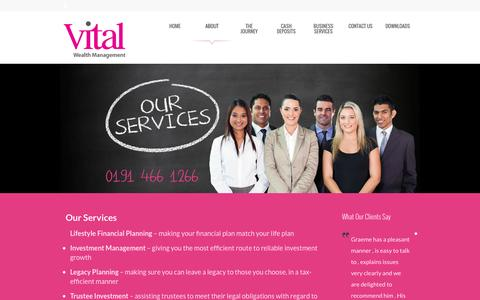 Screenshot of Services Page vitalwealthmanagement.co.uk - Our Services - Vital Wealth ManagementVital Wealth Management - captured Oct. 29, 2014