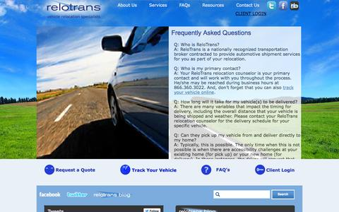 Screenshot of FAQ Page relotrans.com - Frequently Asked Questions - ReloTrans - captured Oct. 26, 2014