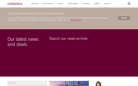 Screenshot of Press Page linklaters.com - News and Deals | Linklaters - captured Oct. 10, 2017